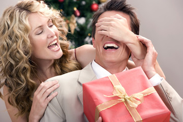 Giving the surprise christmas gift!