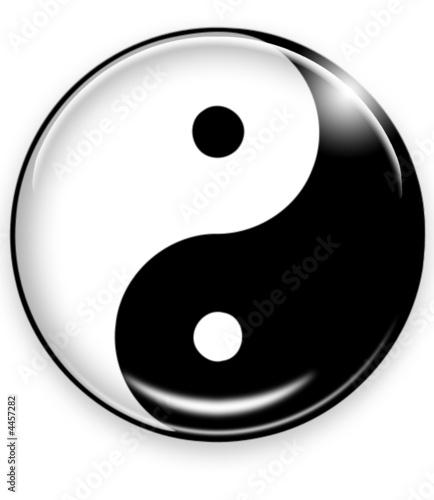 Leinwandbild Motiv yin yang button