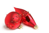 Two Red Jewelled Christmas Ornaments poster