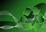 Recycle symbol over green abstract background