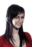 pretty girl wearing telephone headset poster