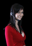 pretty girl on black wearing telephone headset poster
