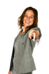 businesswoman  smiling and pointing