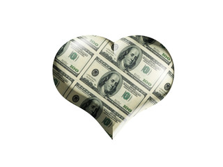 Heart colored into the dollars