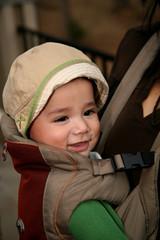 Biracial Baby in Carrier