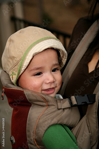 Biracial Baby in Carrier