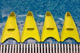 Four yellow flippers expecting swimmers poster