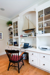 comfortable home office with built-in bookcase