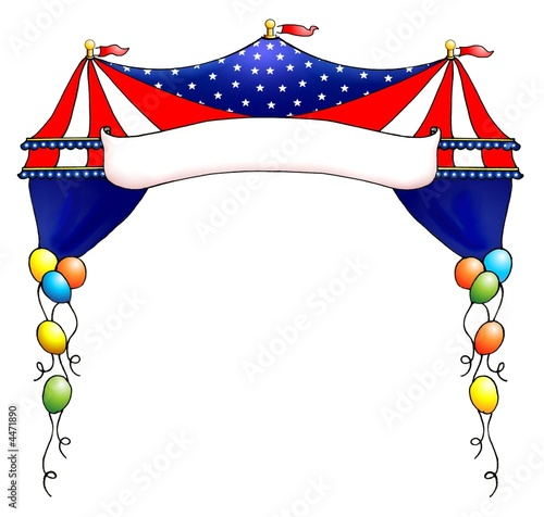 USA patriotic stars and stripes circus tent banner