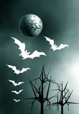 Moon and Ghost of bats. poster