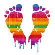 pieds multicolores