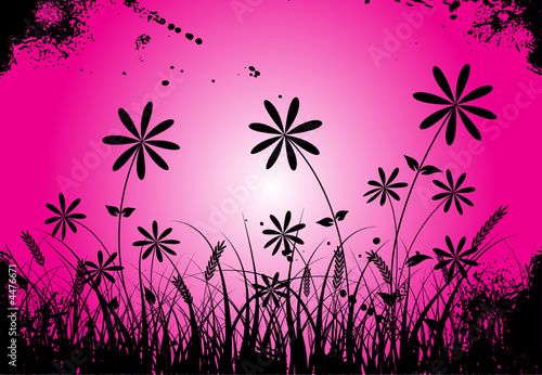 canvas print picture Grunge grass and flower, vector