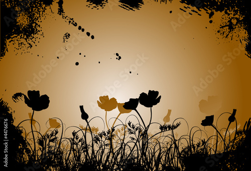 canvas print picture Grunge grass and poppy, vector