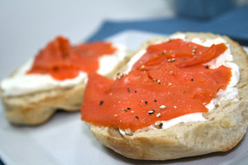 Bagel and Cream Cheese with Smoked Lox