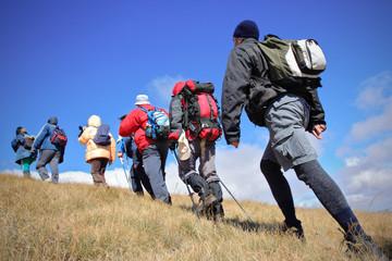Alpine expedition going towards the peak Korab