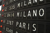 Paris and Milano - airport info board poster