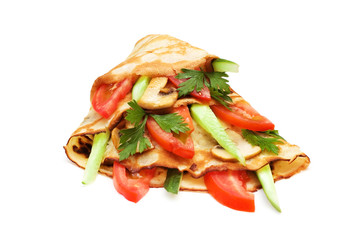 Pancake with cucumbers and tomatoes isolated on white
