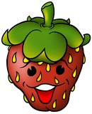 Smiling Strawberry - cartoon illustration poster