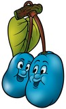 Two Blue Plums - cartoon illustration poster