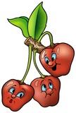 Three Smiling Cherry - cartoon illustration poster