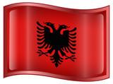 Albania Flag Icon, isolated on white background. poster