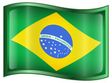 Brazil Flag Icon, isolated on white background. poster