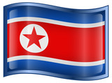 Northern Korea Flag Icon, isolated on white background.
