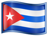 Cuba Flag Icon, isolated on white background. poster