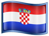 Croatia Flag icon, isolated on white background. poster