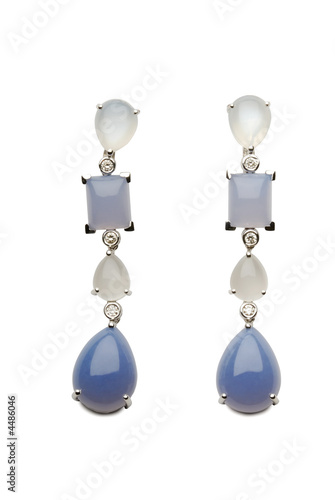 Gold earrings with brilliants, chalcedony and a moonstone
