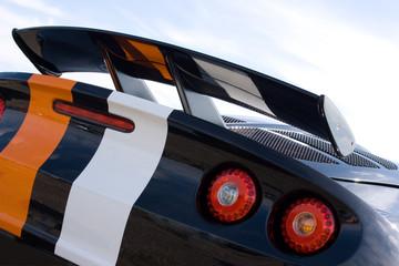Rear of black racing car