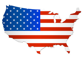 Carte des USA (Drapeau)