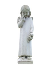 A Graveside Marble Statue of a Crying Child.