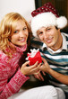 happy couple in christmas time