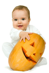 boy with pumpkin
