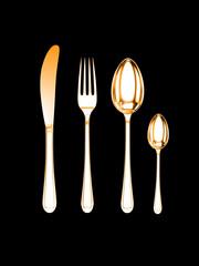 gold knife, fork, spoon, tea-spoon