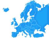 Carte Europe Bleu Satin poster