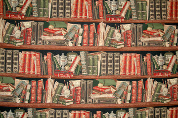 Cloth, that depicts shelf with the books