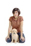 Girl and a golden retriever puppy poster