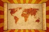 world map on sunbeam poster