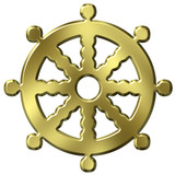 3D Golden Buddhism Symbol Wheel of Life poster