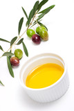 Olives twig and pure olive oil poster