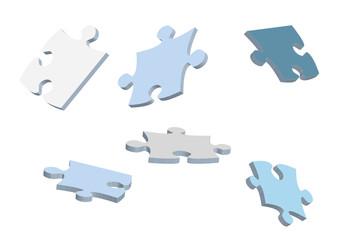 3d vector puzzle pieces for design