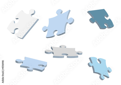 3d vector puzzle pieces for design