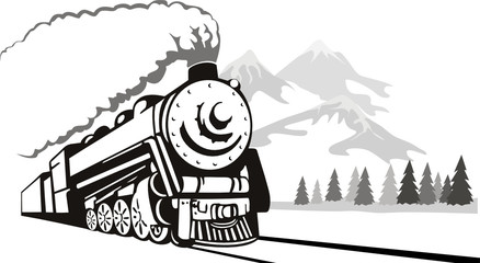 Vintage steam train traveling in the winter