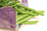 packaged green beans on white poster