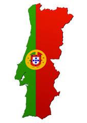 Carte du Portugal (drapeau)