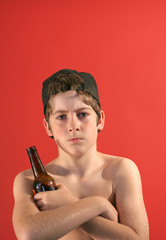 tough guy teenager drinking beer