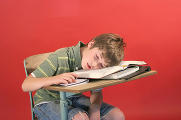 kid asleep at his desk