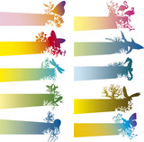 Fototapety colorful banners with animal silhouettes